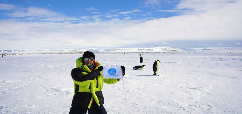 The flag of the University of Tehran was raised in the South Pole